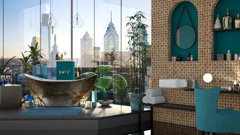 Turquoise and Copper  - Modern - Bathroom - by mmehling