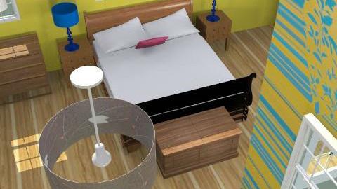 urban yellow + blues - Rustic - Bedroom  - by Kimberleyx