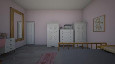 Pink and Gold Bedroom - Feminine - Bedroom  - by jukiana