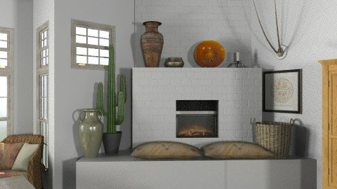 Random Spaces - Santa Fe Kitchen Fireplace Area (for Hunny) - Rustic - Kitchen  - by LizyD