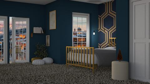 navy and gold - Bedroom  - by Adelaide8