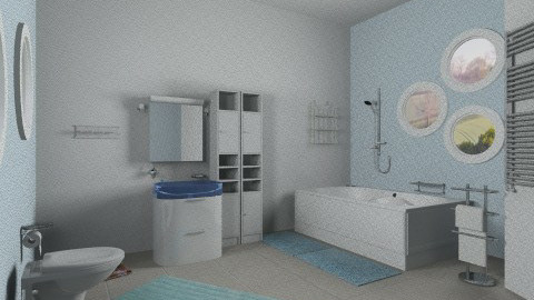 Modern blue bathroom - Modern - Bathroom  - by Sotiria Oups