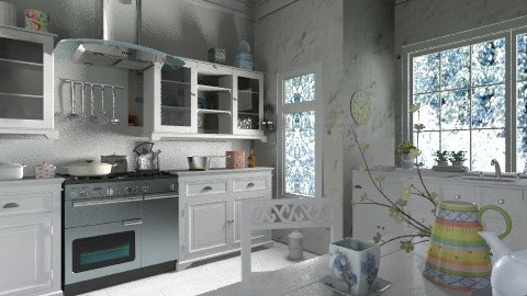 White kitchen2 - Vintage - Kitchen  - by milyca8