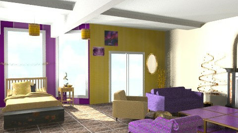 purple and gold - Glamour - Bedroom  - by divachiquita714