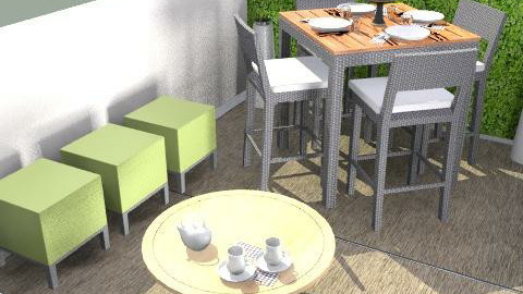 Ollie Bar Table,Rusa Coffee, Primary Poufs - Modern - Garden  - by Barry Snowbarger