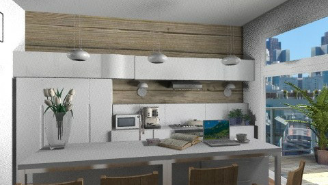 modern white wood kitchen - Modern - Kitchen  - by KittiFarkas