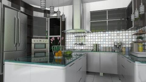 B and W glass top - Modern - Kitchen  - by Bibiche