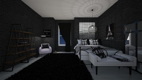 Monochrome bedroom - Bedroom  - by Destiny H