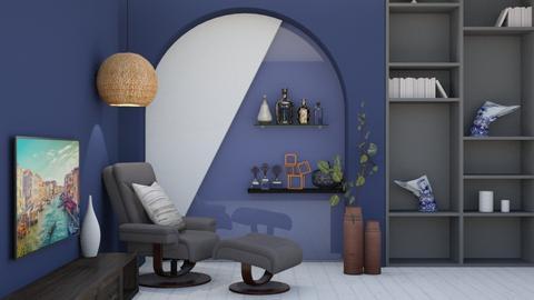 blue living - Living room  - by nihalruttala