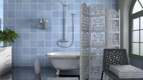 blue bathroom min makeove - Eclectic - Bathroom  - by rufaro_mazarura