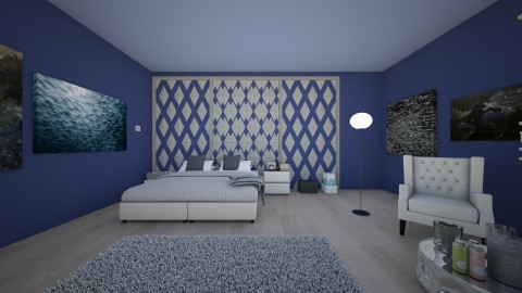 Dark blue bedroom - Classic - Bedroom  - by zosiawojcik