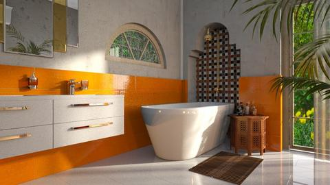 Rustic Orange and White - Rustic - Bathroom  - by hiiamdani