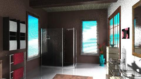 brown bathroom - Modern - Bathroom - by Piechowiak Monika