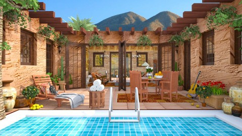 Design 251 Desert Adobe Living - Garden  - by Daisy320