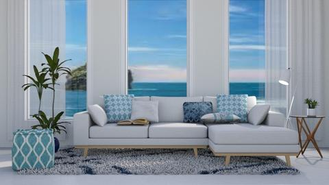 Blue Accent - Modern - Living room  - by millerfam