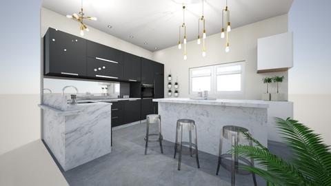 black and white kitchen - Modern - Kitchen  - by Wikihomedecor