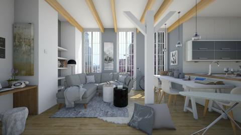Grey n beige apt - Living room - by AnnaMull