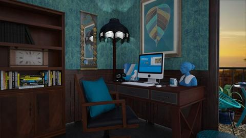 study in teal - Masculine - Office - by donella