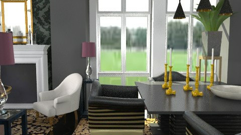 black damask1 - Classic - Living room  - by naki1