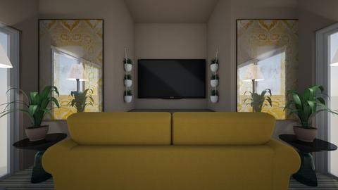 Gold and Blue  - Living room  - by RosieDraws
