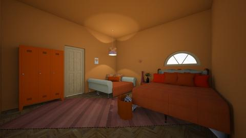 orange chic bedroom - Feminine - Bedroom - by Licorice123