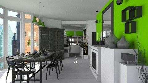WhiteGreenKitchenDining - Modern - Kitchen  - by StienAerts