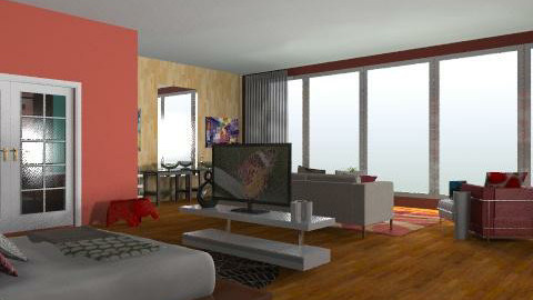 red hotel room - Eclectic - Bedroom  - by idesine