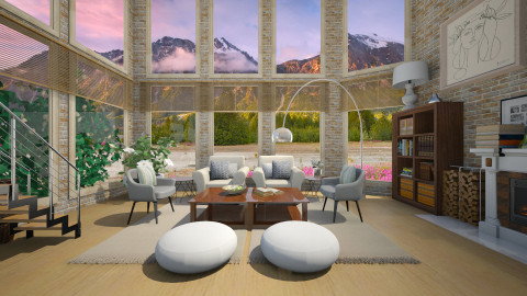 Mountain spring - Retro - Living room - by Lucii