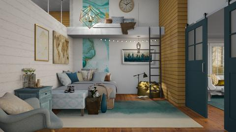 Gold_Teal Loft - Bedroom - by jo0207
