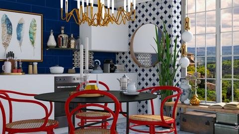 Red and Blue - Classic - Dining room - by HenkRetro1960