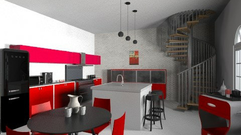 Red Chic Cucina - Retro - Kitchen  - by raphaelfernandesdesign