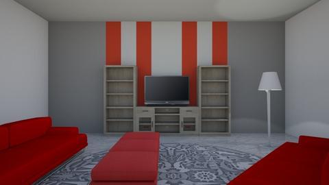 red living room  - Modern - Living room  - by Johnnn2314