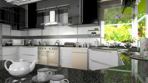 Black and White - Modern - Kitchen  - by Bibiche