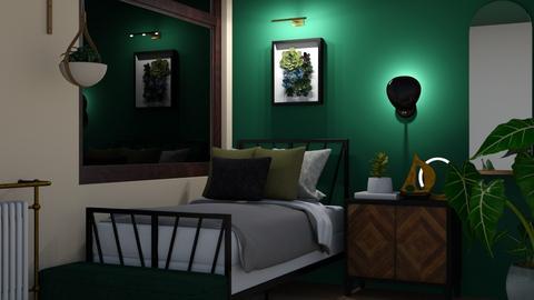 emerald green bedroom - Bedroom  - by elhamsal24