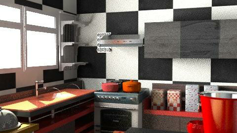 red kitchen - Retro - Kitchen  - by sumz78