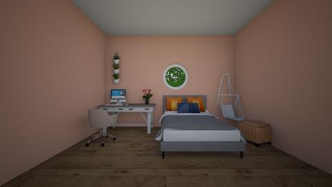salmon navy room - Bedroom  - by migel002
