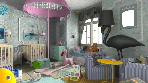 Twin Baby Birds Room - Eclectic - Kids room  - by Trimble Official