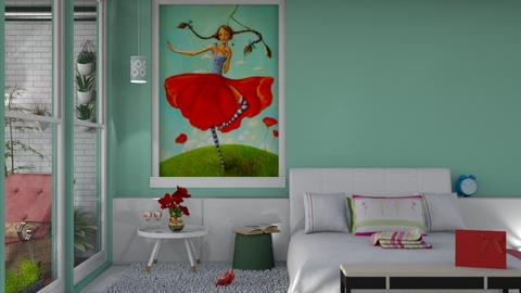 poppy flowers bedroom - Modern - Bedroom  - by nat mi