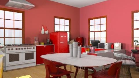 Red-Withe - Retro - Kitchen  - by emina995