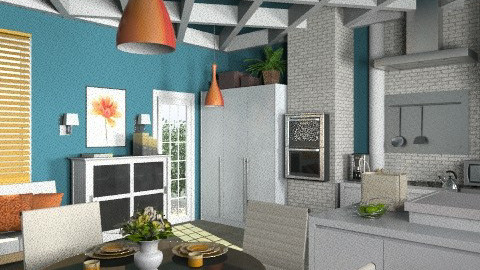 Orange-Blue brick kitchen. - Modern - Kitchen  - by KittiFarkas