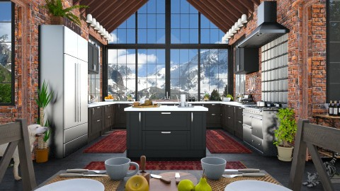 Design 243 Nifty Dark Kitchen - Kitchen  - by Daisy320