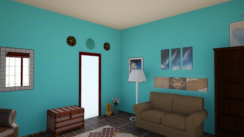 Brown and blue - Living room - by Decorator1900