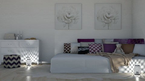 Purple and Tan - Rustic - Bedroom  - by millerfam