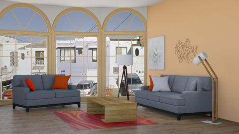 Gray orange white - Living room  - by DemiGirl9