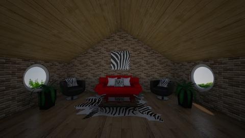 Zebra Lounge loft - Modern - Living room  - by riordan simpson