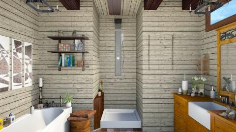 bathroom wood stone - Bathroom - by Kasia Zacharska