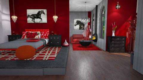 all red - Bedroom - by Moonpearl