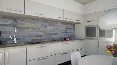 kitcen beige and purple - Kitchen  - by fre82