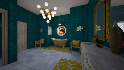 turquoise and gold - Bathroom - by mayaann_10