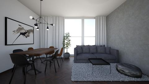 Living room of gray - Living room - by DomiMat